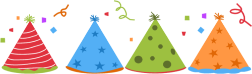 Party Hats and Confetti Clip Art Image
