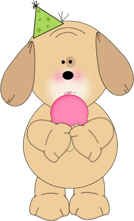 Party Pup and Ice Cream Clip Art Image