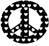 Black and White Heart Peace Sign