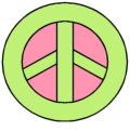 Green and Pink Peace Sign