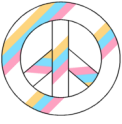 Rainbow Striped Peace Sign