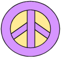 Purple and Yellow Peace Sign