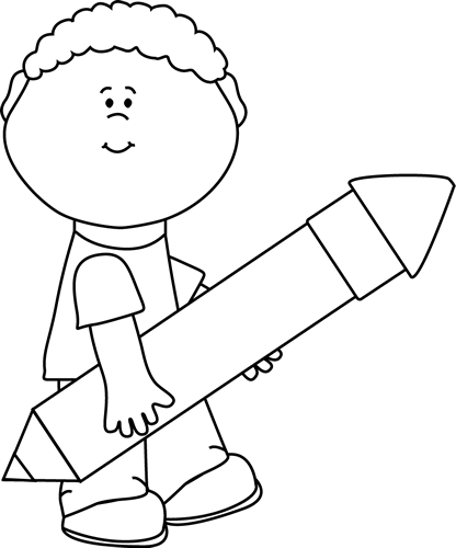 Black and White Boy Carrying a Big Pencil