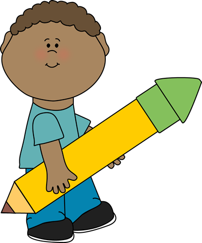 Boy Carrying Big Yellow Pencil