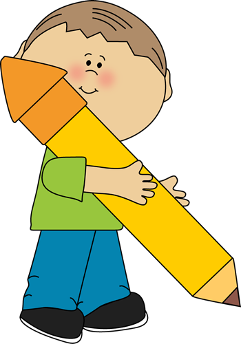 Boy Holding a Big Pencil Clip Art Boy Holding a Big