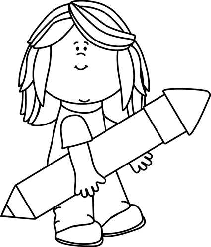 Black and White Kid with a Big Pencil Clip Art - Black and ...