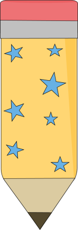 Yellow Pencil with Blue Stars