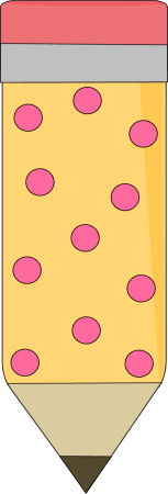 Yellow Pencil with Pink Polka Dots