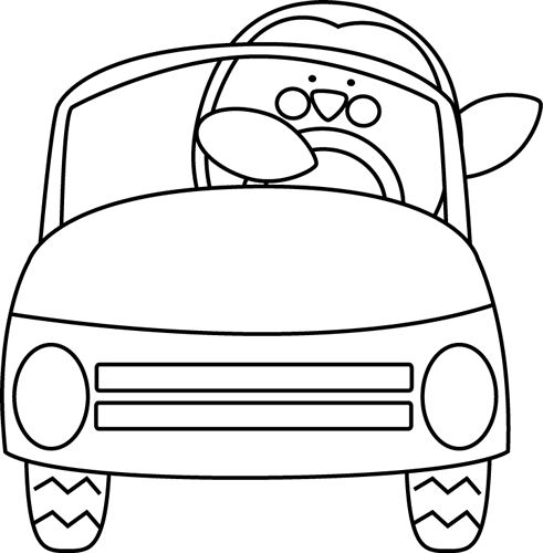 Black and White Penguin Driving a Car