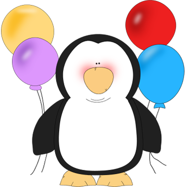 Penguin Holding Balloons