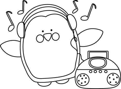 Black and White Penguin Listening to Music