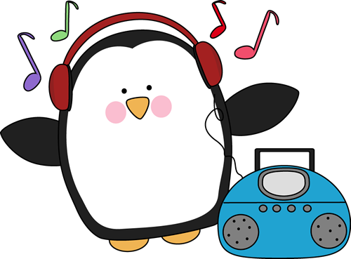 Penguin Listening to Music