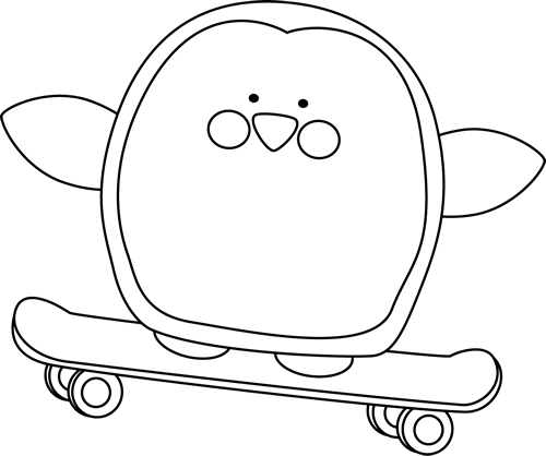 Black and White Penguin on a Skateboard