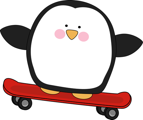 Penguin on a Skateboard