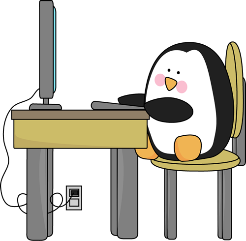 Penguin Using a Computer