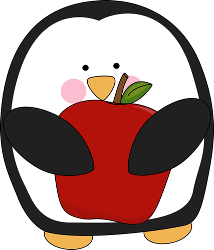 Penguin Holding an Apple