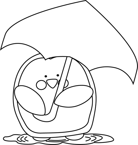 Black and White Penguin Holding an Umbrella