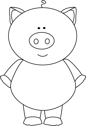 Black and White Pig Clip Art - Black and White Pig Image