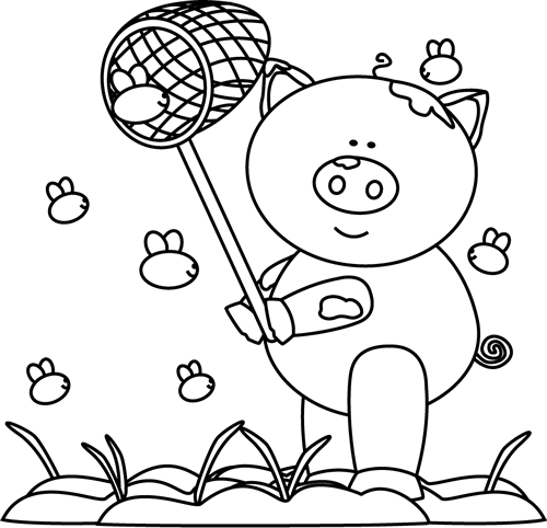 Black and White Pig Catching Flies in the Mud Clip Art ...