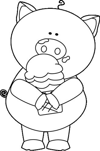 Black And White Pig Eating Ice Cream