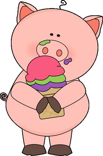 Pig Eating Ice Cream