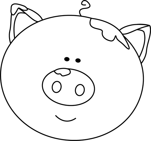 Black and White Pig Face with Mud