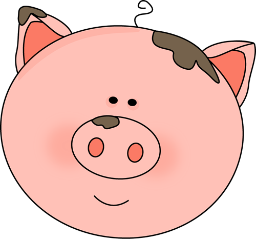 Pig Face With Mud Clip Art