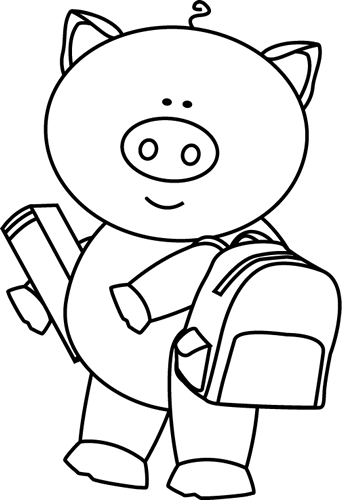 Black and White Black and White Pig Going to School