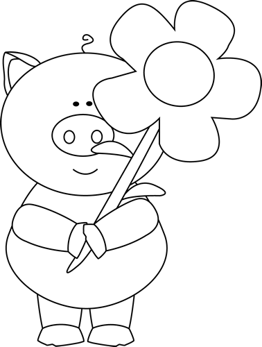 Black and White Pig Holding a Flower