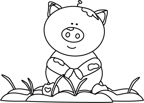 Black and White Black and White Pig in the Mud