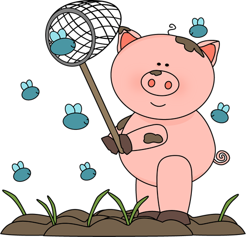 Pig in the Mud Catching Flies