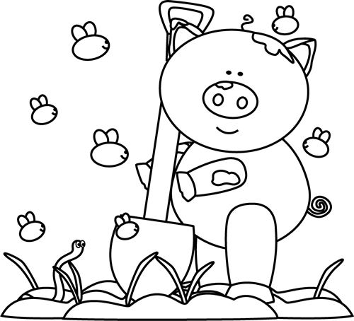 Pig in Mud Clip Art http://www.mycutegraphics.com/graphics/pig/black-white-muddy-pig-and-bugs.html