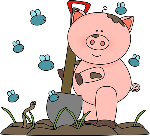 Muddy Pig with Flies and a Worm