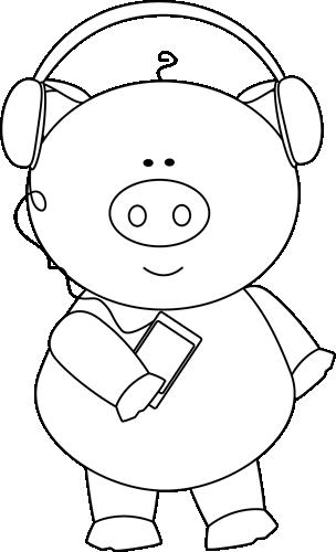 Black and White Pig Listening Music