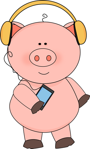 Pig Listening to Music