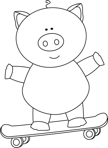 Black and White Pig on a Skateboard