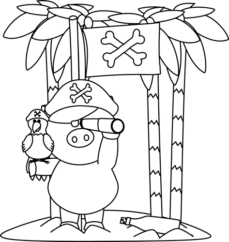 Black and White Pig Pirate on Island