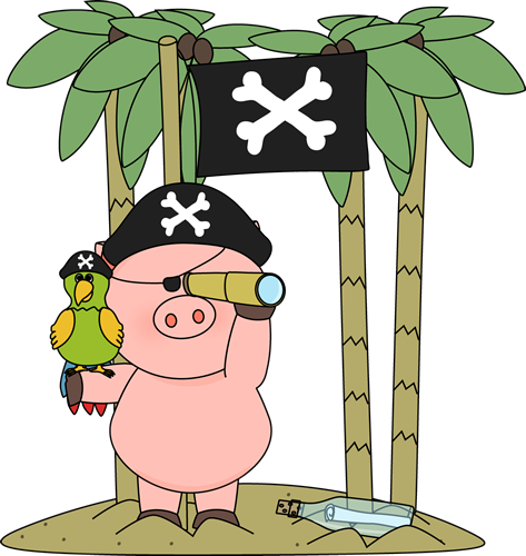 Pig Pirate on an Island