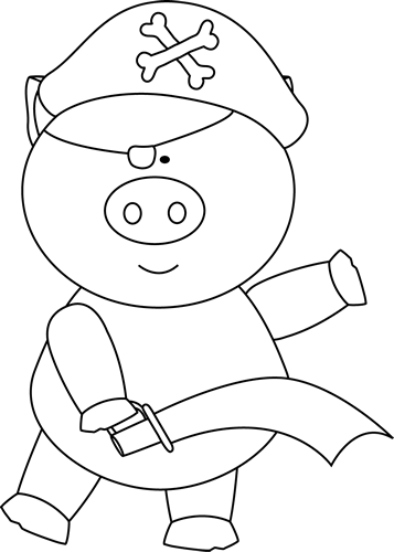 Black and White Pig Pirate