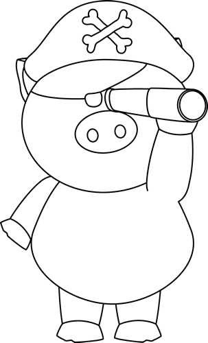 Black And White Pig Pirate With Telescope Clip Art Black