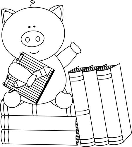 Black and White Pig Sitting on Books
