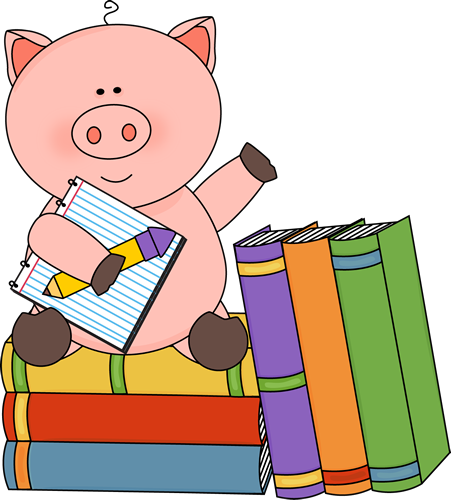 Pig Sitting on Books