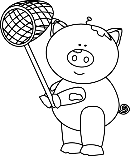 Black and White Pig with a Net Clip Art - Black and White ...
