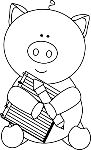 Black and White Pig with Notepad and Pencil Clip Art ...