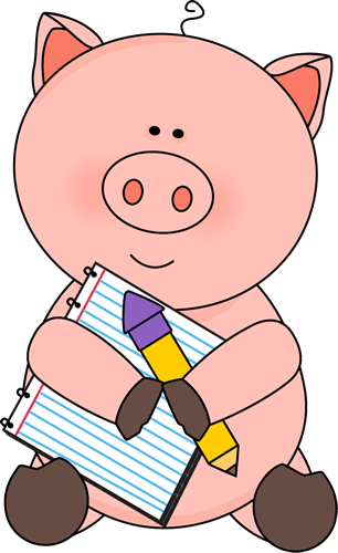 Pig with Notepad and Pencil