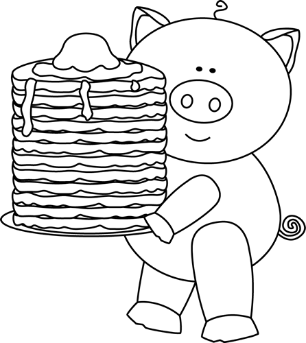Black and White Pig with Pancakes