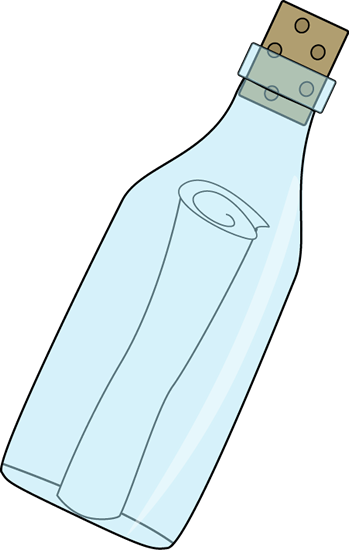 Message in a Bottle Clip Art Image - scroll message in a bottle with a ...