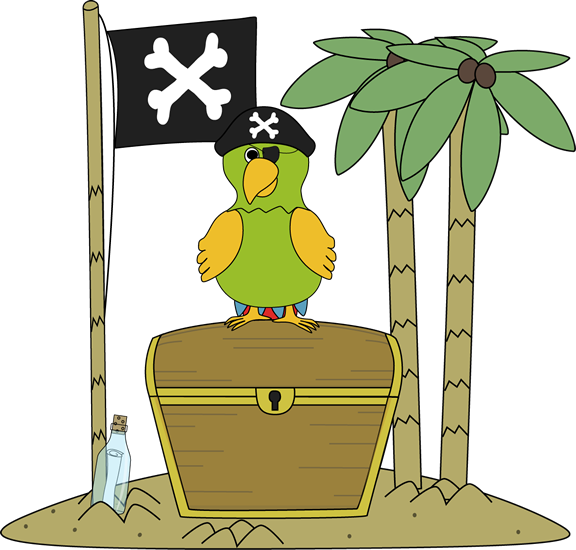 Pirate Flag and Parrot on an Island