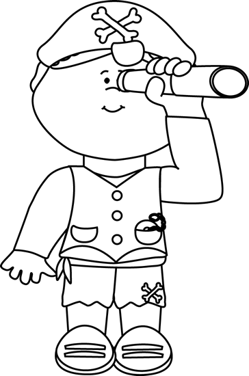 Black and White Pirate Looking out of a Telescope