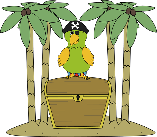 Pirate Parrot on an Island with Treasure Chest